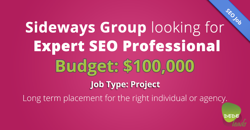 Sideways Group Looking for Expert SEO Professional (Budget: $100,000)