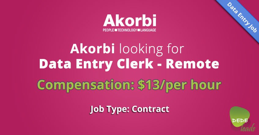 Akorbi looking for Data Entry Clerk - Remote