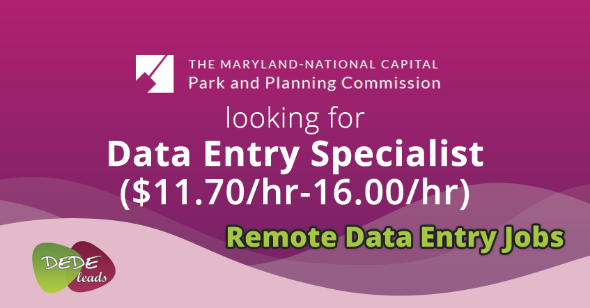 Maryland National Capital Park and Planning Commission looking for Data Entry Specialist